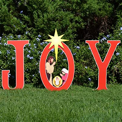 Teak Isle Joy Nativity Printed Yard Sign