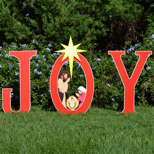 (Teak Isle Joy Nativity Printed Yard Sign)