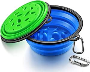 URWOOW Collapsible Foldable Slow Feeder Pet Dog Cat Puppy Silicone Travel Pet Slow Feeding Bowl Dog Water Dish Cat Port (2pack 5 inch)