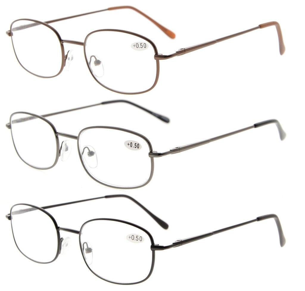 2df36135b8c Eyekepper Metal Frame Spring Hinged Arms Reading Glasses 3  Pair(Brown Gunmetal Black