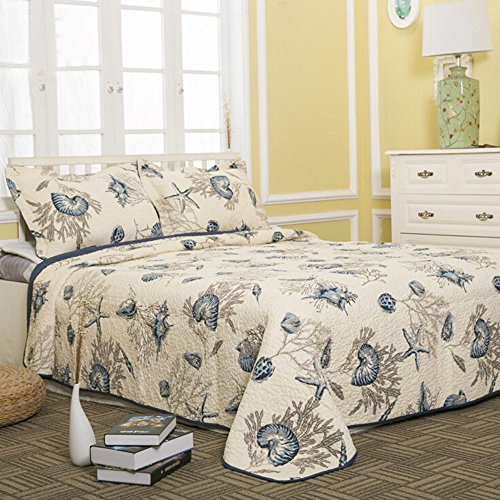 DOUH 100% Cotton Bedspread Super Seashell Print Coverlets...