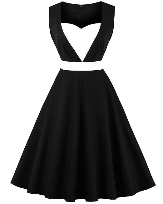 ZAFUL Mujer Vintage Vestido de Fiesta Cintura Alta Sin Mangas Collar Cuadrado Dress Plisada Grande Negro