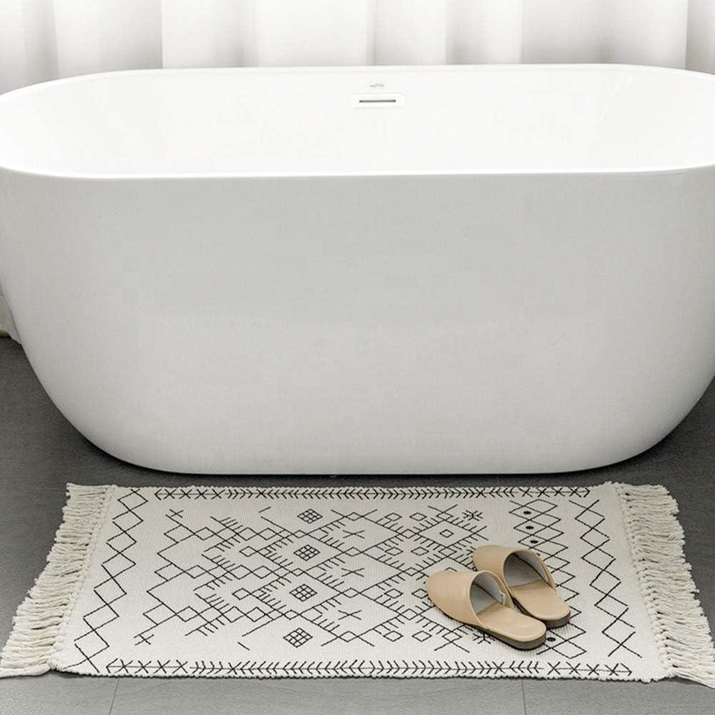 Boho Bathroom Rug Runner, Cream Bath Mat, Woven Cotton Small Throw Rug 2'x4.3', Tassel Rug for Kitchen Laundry Doorway Bedroom
