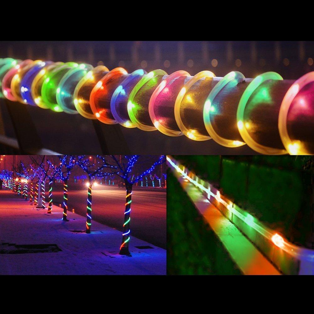 Giardini Patio Festa di Natale bianco caldo 100LEDs Catena Luminosa led Solare Esterno Tubo Luce,12m Luci Stringa di Natale Esterno Solare per Allaperto Case