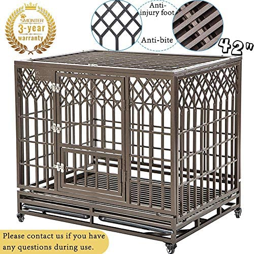 SMONTER Heavy Duty Dog Crate Strong Metal Pet Kennel Playpen with Two Prevent Escape Lock, Large Dogs Cage with Wheels, Y Shape, Dark Silver