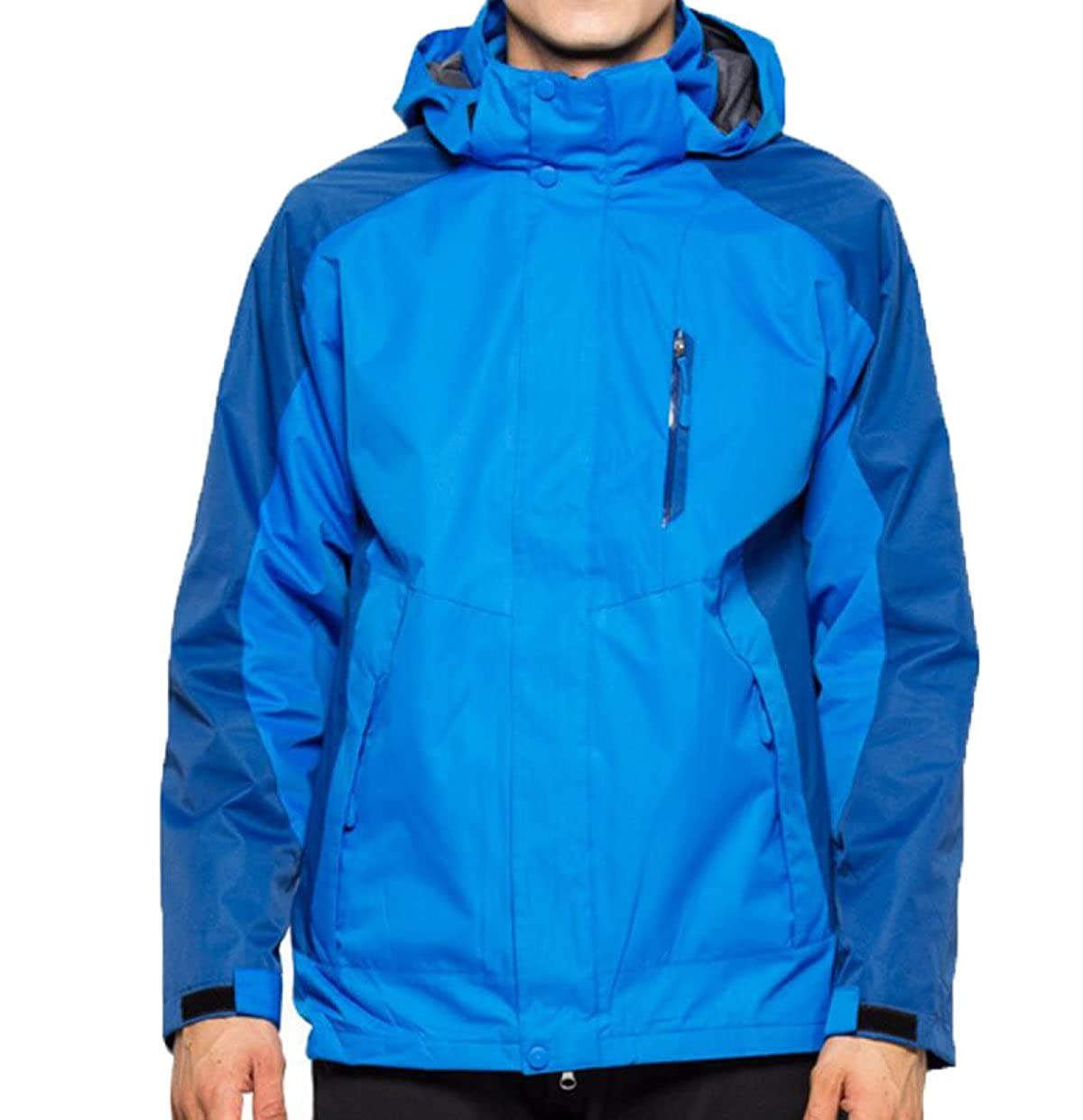 bleu XL Extérieur Hiver Triple Veste Triple Veste Imperméable Coupe-Vent VêteHommests d'alpinisme à Capuchon