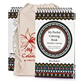 Coloring-On-The-Go Adult Coloring Books – 74 Mandala Coloring Pages W/Durable Designed Pouch & Hardcover Spiral Bound Format- High-End Portable Adult DIY Craft Creative Kit -Be Creative Everywhere!