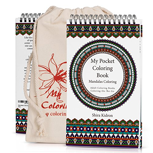 Coloring-On-The-Go Adult Coloring Books – 74 Mandala Coloring Pages W/Durable Designed Pouch & Hardcover Spiral Bound Format- High-End Portable Adult DIY Craft Creative Kit -Be Creative Everywhere! by Coloring-On-The-Go