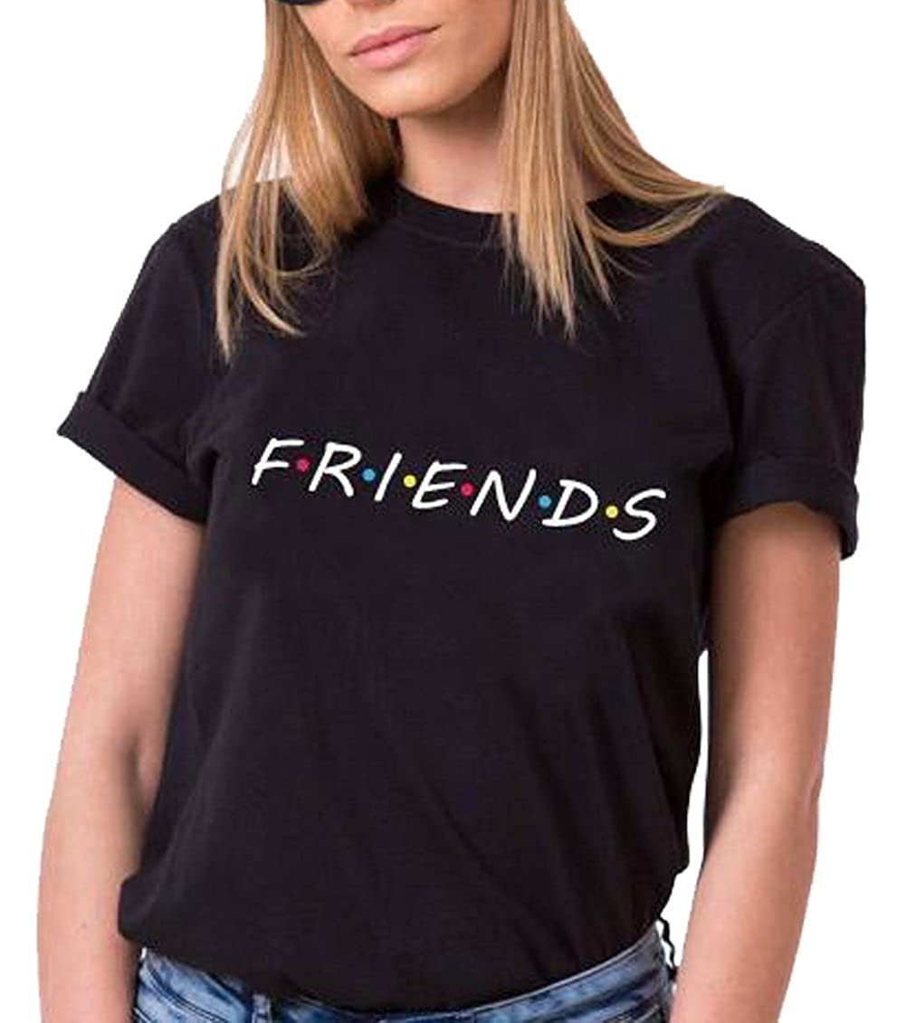 6a8d6ebd9 ❤Material: Cotton Blend,Soft and Comfortable to Wear ❤Funny Friends Letters  Printed Graphic T Shirt,Short Sleeve Casual O-neck Loose Fit Tees Tops  Blouses
