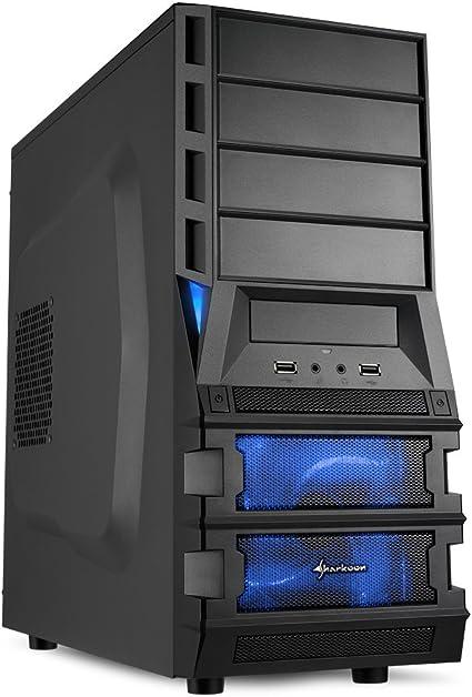Sharkoon Vaya II Carcasa de Ordenador Midi-Tower Negro - Caja de Ordenador (Midi-Tower, PC, De plástico, ATX, Negro, Azul): Amazon.es: Informática