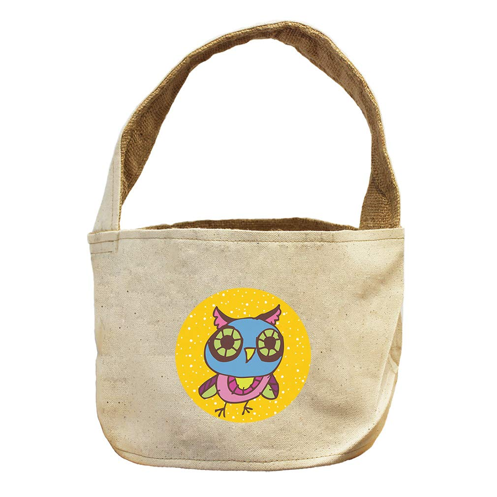 Owl Blue Pink in Yellow Circle Animals Canvas and Burlap Storage Basket