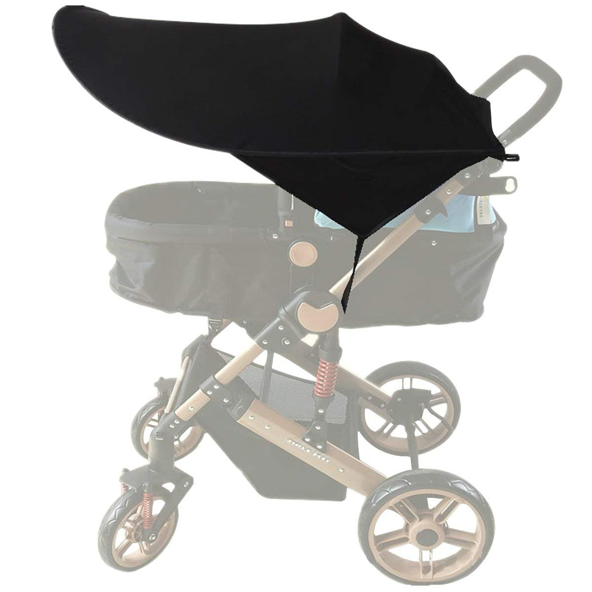 ZLMI Baby Stroller Sun Cover,Baby Carriage Awning,Infant Pushchair Sun Shade Baby Stroller Black Sun Shield Has Excellent UV Protection
