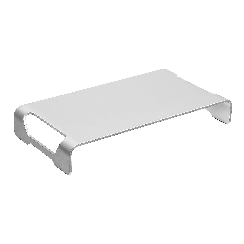 SONGMICS Supporto per Monitor in Alluminio, Ergonomico, Stand Multifunzione per Scrivania, Computer, Laptop, Stampante e Cancelleria OMS04SV