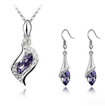 8fcf7c6cda65cb Amazon.com: CrazyPiercing Long Teardrop False Swarovski Element Set Austria  Crystal Fashion Earrings Pendant Necklace (purple)