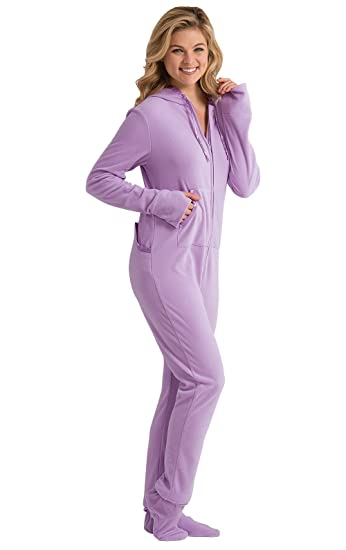 PajamaGram Women 's Hoodie-Footie Sneak-a-Peek Purple Fleece Pajamas Purple Small / 4-6