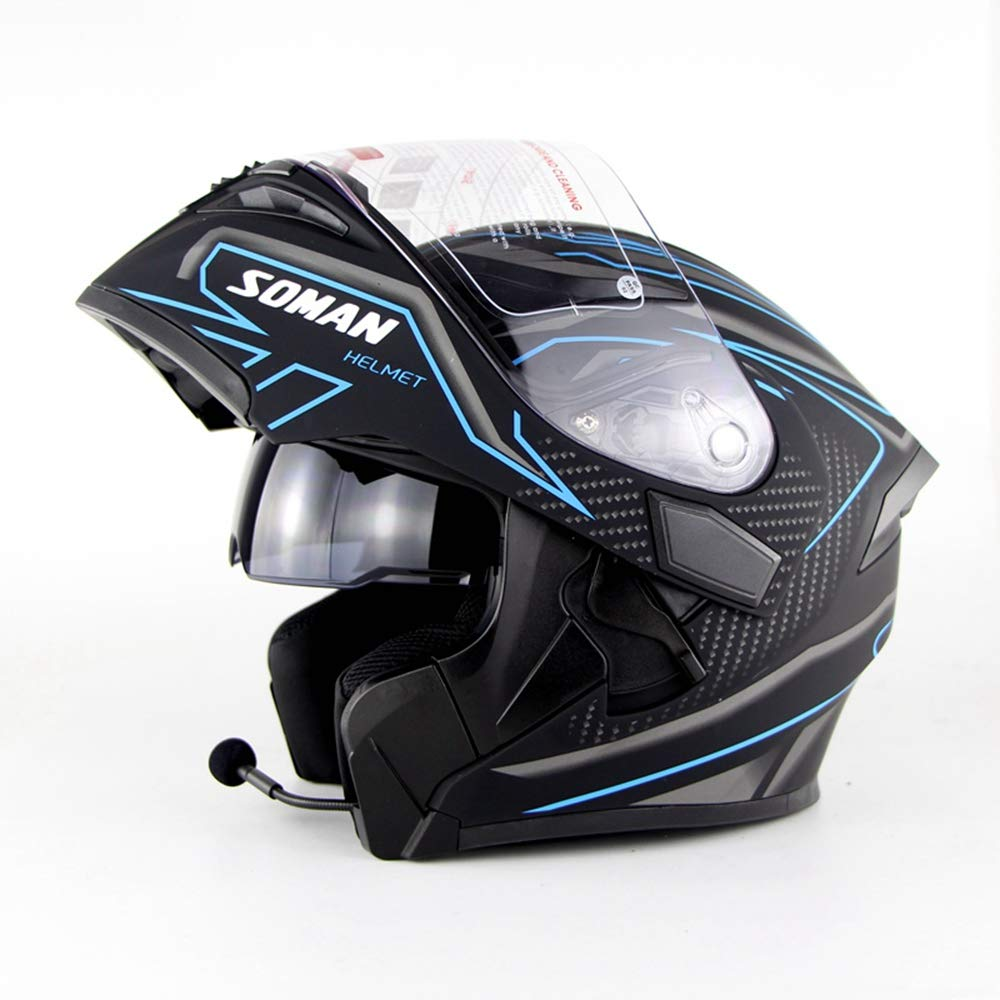 Bluetooth Helmet - Motorcycle Full Face Helmet Double Lens Anti-Fog with Bluetooth Headset Men and Women Four Seasons Safety Flip Helmet Listening to Music Answering Phone