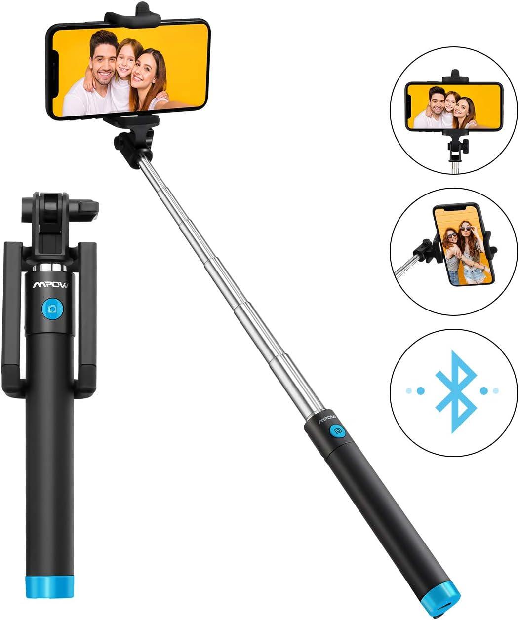 Mpow Palo Selfie Movil, Selfie Stick Bluetooth Diseño ligero, inalámbrico palo selfie con Bluetooth Remoto Compatible iPhone 11/11 Pro Max/XS Max /XR/X/8/7/ 6, Galaxy S10/S9/S8, Huawei Xiaomi etc
