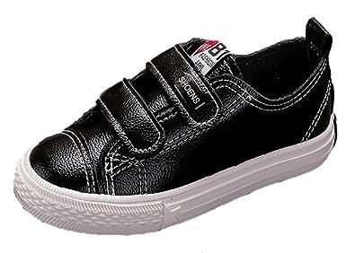 74f1577f8 VECJUNIA Boys Girls Peach Heart Low Top Sneakers Fashion PU Leather Shoes  Black 7.5 M US