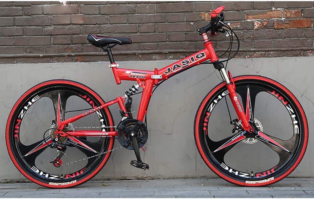 F-JWZS 26 Pulgadas Doble Suspensión Bicicleta de Montaña, Unisexo 21 Velocidades Bicicleta Plegable, con Doble Freno de Disco, para Estudiante, Niño, Adulto, Viajero,Red