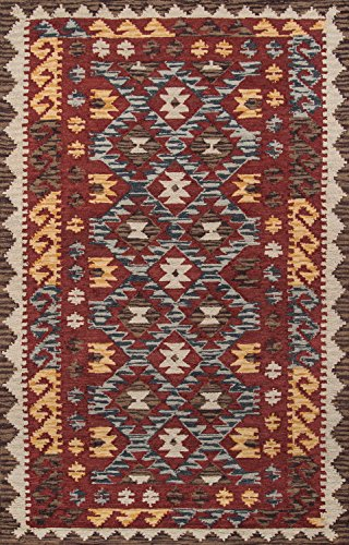 Momeni Rugs TANGITAN-7RED2030 Tangier Collection, 100% Wool Hand Tufted Tip Sheared Transitional Area Rug, 2' x 3', Red (Burnt Rug Sienna Wool)