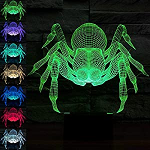 SUPERNIUDB 3D Spider Night Light Illusion Lamp Effect 7 Colors Change Creative Design Night Light