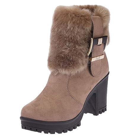 Botas,Botines cuña para Mujer Otoño Invierno 2018 Moda ZARLLE Mujeres de Felpa Boots Tubo