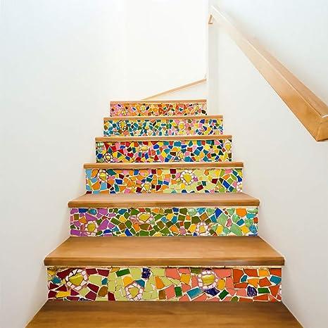 FWSY Ladrillo Mosaico Auto-Adhesivos Pegatinas de Escalera, Pared Pintura Vinilo Escalera calcomanía Decoración 39 Pulgadas x7 Pulgadas X 6 Piezas: Amazon.es: Deportes y aire libre
