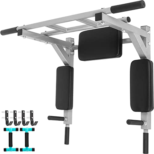 Popsport Wall Mounted Pull Up Bar Supports 440LBS Multifunctional Thicken Pull Up Bar Compact Chin Pull Up Bar Gym Workout Pullup Bar Dip Stand