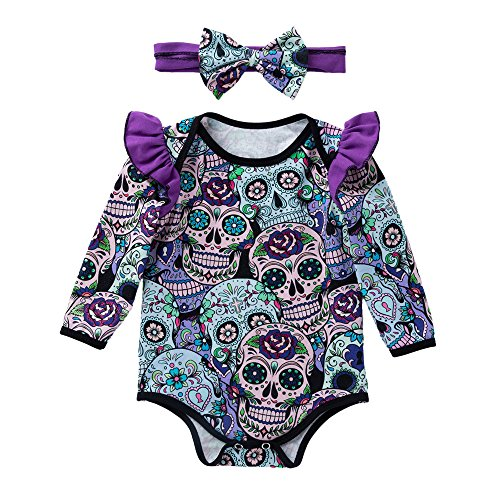iYBUIA Fashion Cotton Newborn Baby Girls Long Sleeve Halloween Cartoon Skull Romper Jumpsuit(Purple,80)