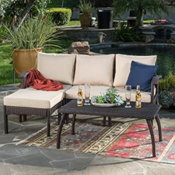 maui patio furniture 5 piece l shaped outdoor wicker sectional sofa set brown. Black Bedroom Furniture Sets. Home Design Ideas