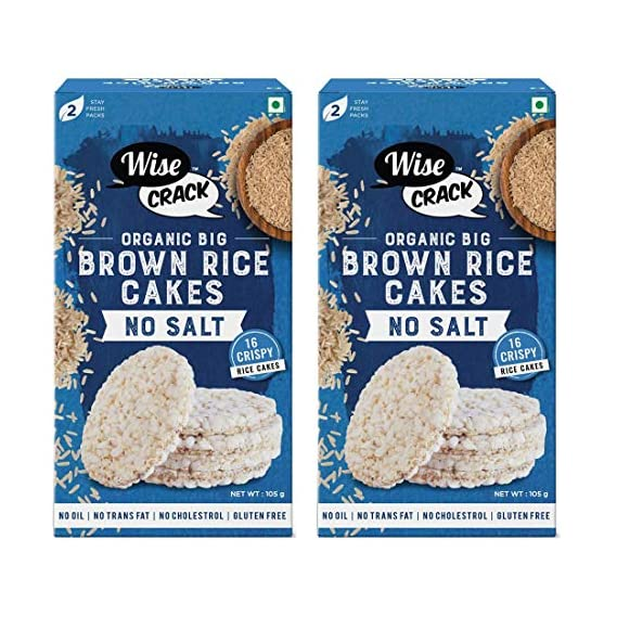 Wise Crack Puffed Cracker Crispy No Salt, Unsalted Organic Big Brown Rice Cake (210 gm) -Pack of 2