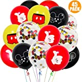 Paquete de 45 globos de Mickey Mouse, globos de látex de 12 pulgadas, rojo, negro, amarillo, Mickey Color Confeti Globos Kit para Baby Bbay Party Baby Shower Mickey Mouse Tema Party Supplies
