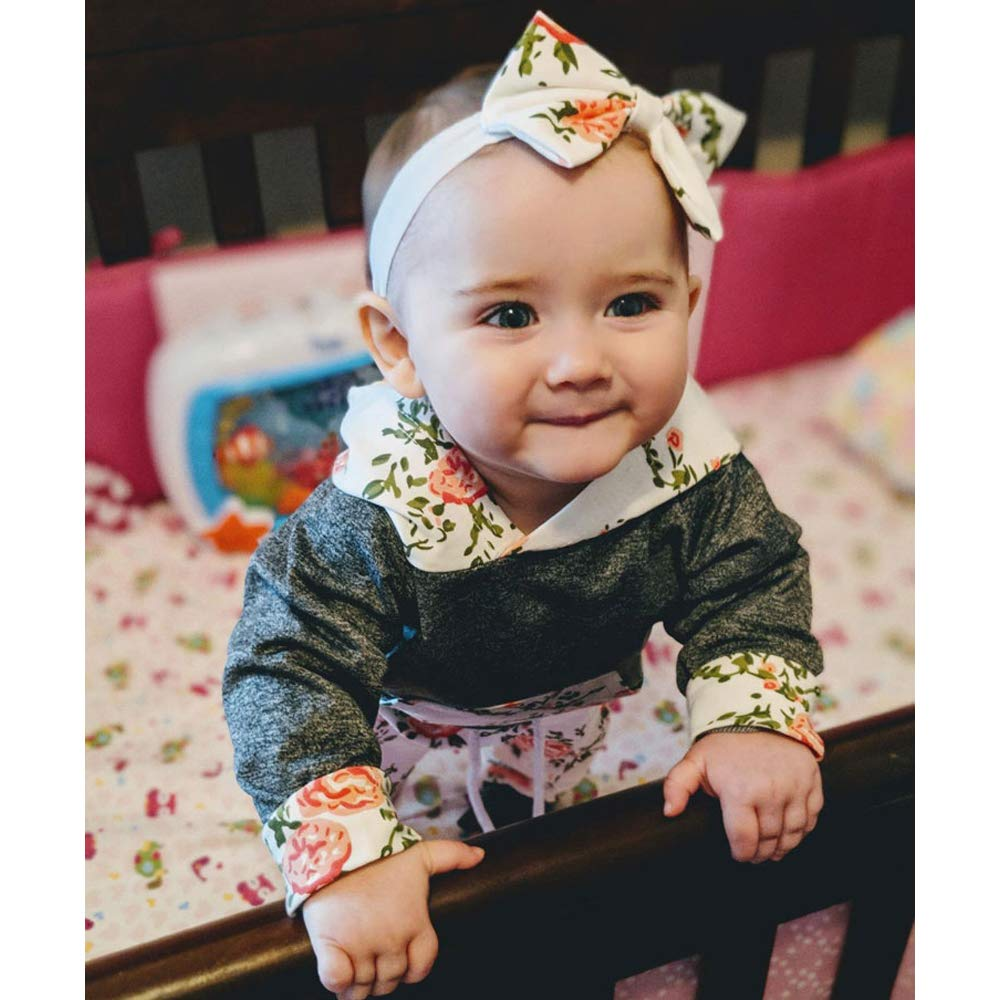 Baby Girls Long Sleeve Flowers Hoodie Tops and Pants Outfit with Kangaroo Pocket Headband by OBC (Image #2)