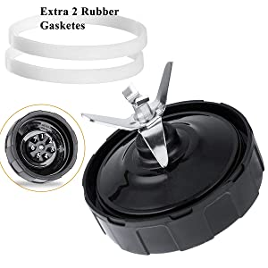 7 Fins Ninja Replacement Extractor, Nutri Ninjia Blender Blade with 2 Rubber Gadketes, 1000W Juicer Accessory fits BL2012 BL2013 BL480 BL480D BL481 BL482 BL486CO BL487 BL487A BL488W BL490 BL491 BL492