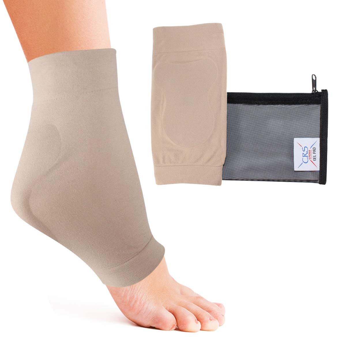 b14eff1bec CRS Cross Achilles Heel Sleeve - Padded compression gel sleeve/sock for  cushion & protection of Haglunds bump, tendonitis, and bursitis (2 sleeves  with bag)