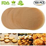 Unbleached Parchment Paper Cookie Baking Sheets,7 Inch Premium Brown Parchment Paper Liners for Round Cake Pans Circle,Non-stick Air Fryer Liners,100 Count
