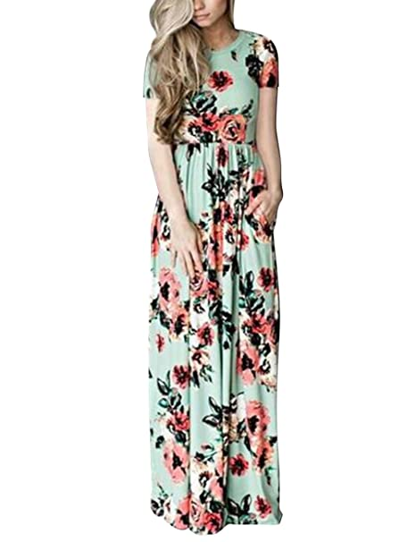 a61823debad1 DANALA Floral Maxi Dress Pockets Short Sleeve Casual Summer Long Beach  Party Dress Grenn Size L at Amazon Women s Clothing store