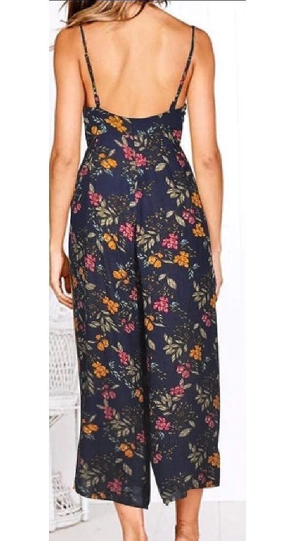heymoney Womens V Neck Spaghetti Strap Jumpsuit Sleeveless Backless Wide Leg Rompers