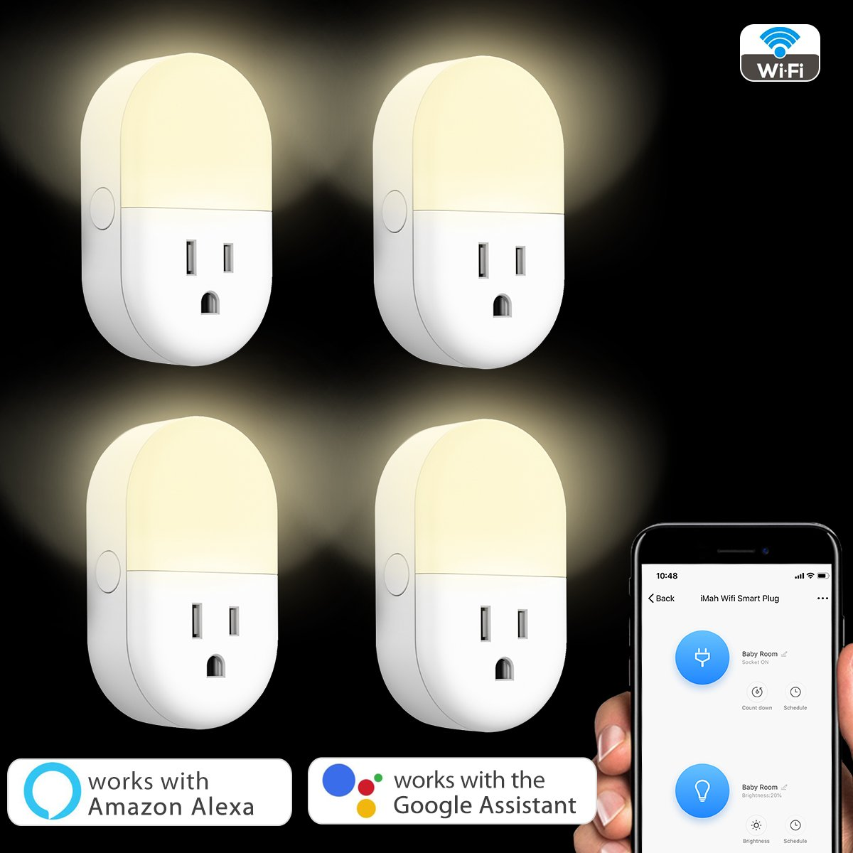 iMah Night Light Plug-in, Smart Plug works with Alexa Google Assistant IFTTT, WiFi Smart Plug Mini Outlet Socket control your Devices from Anywhere (4-Pack) by iMah (Image #1)