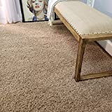 Maxy Home Bella Solid Beige 6 ft. 7 in. x 9 ft. 3 in. Shag Area Rug