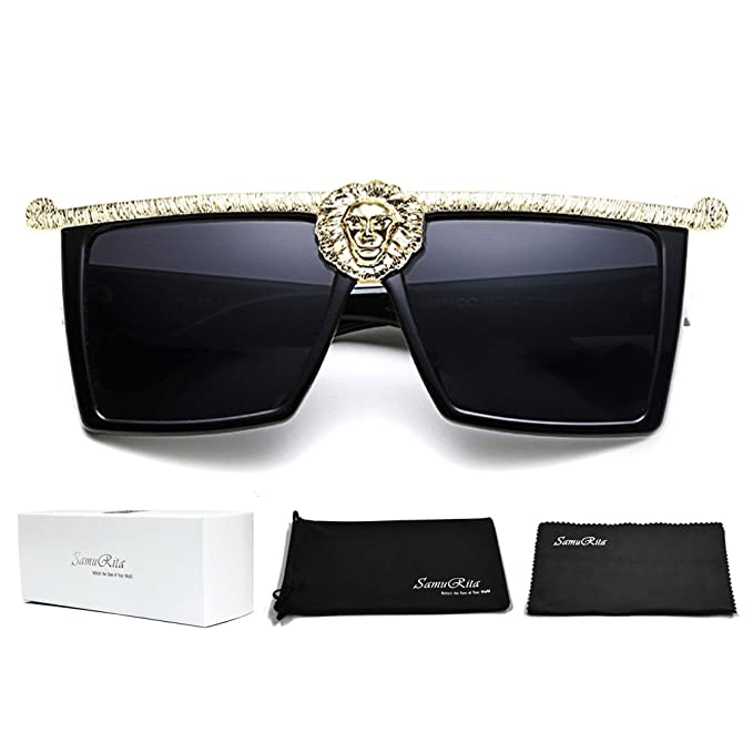 Kleo Flat Top Frame Big Gold Buckle Glasses Hip Hop Gangsta Vintage Sunglasses