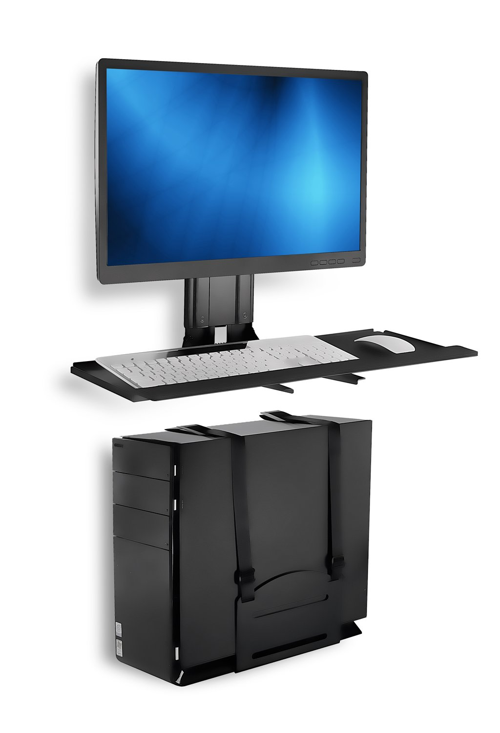 Mount-It! Monitor and Keyboard Wall Mount with CPU Holder, Height Adjustable Standing VESA Keyboard Tray, 25 Inch Wide Platform with Mouse Pad (MI-7919)