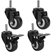"""Impoda 4 Pack 2"""" Heavy Duty Caster Wheels Screw Type / 2 with Brakes & 2 Without/Soft Rubber Swivel Caster with 360 Degree"""