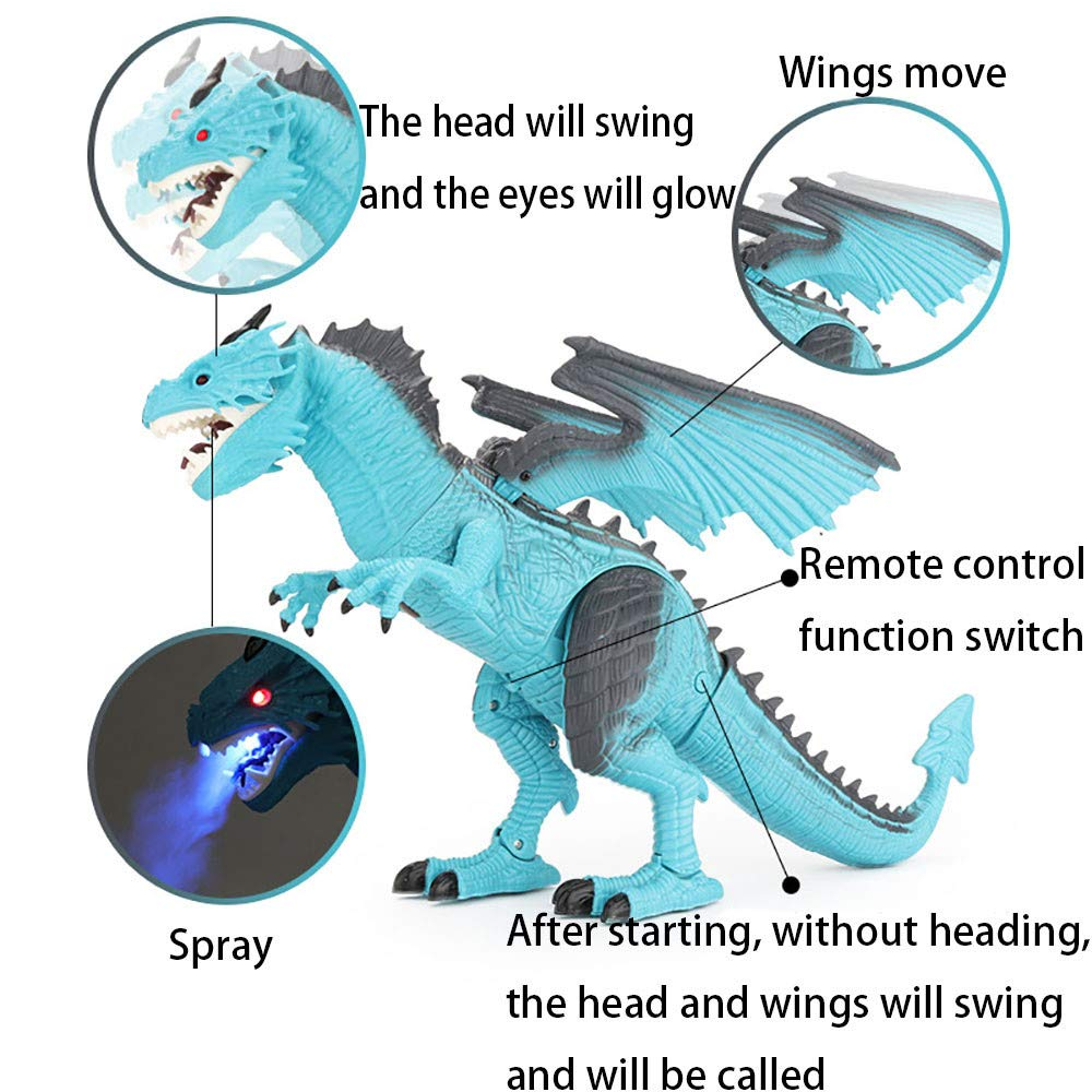 PSFS Remote Control Walking Dinosaur Toy,Fire Breathing Water Spray (Blue) by PSFS (Image #2)