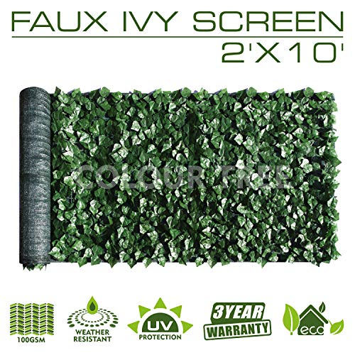 (ColourTree 2' x 10' Artificial Hedges Faux Ivy Leaves Fence Privacy Screen Cover Panels  Decorative Trellis - Mesh Backing - 3 Years Full Warranty)