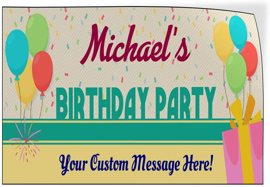 Custom Door Decals Vinyl Stickers Multiple Sizes Boy Name Birthday Party Holidays and Occasions Happy Birthday Outdoor Luggage /& Bumper Stickers for Cars Blue 45X30Inches Set of 5