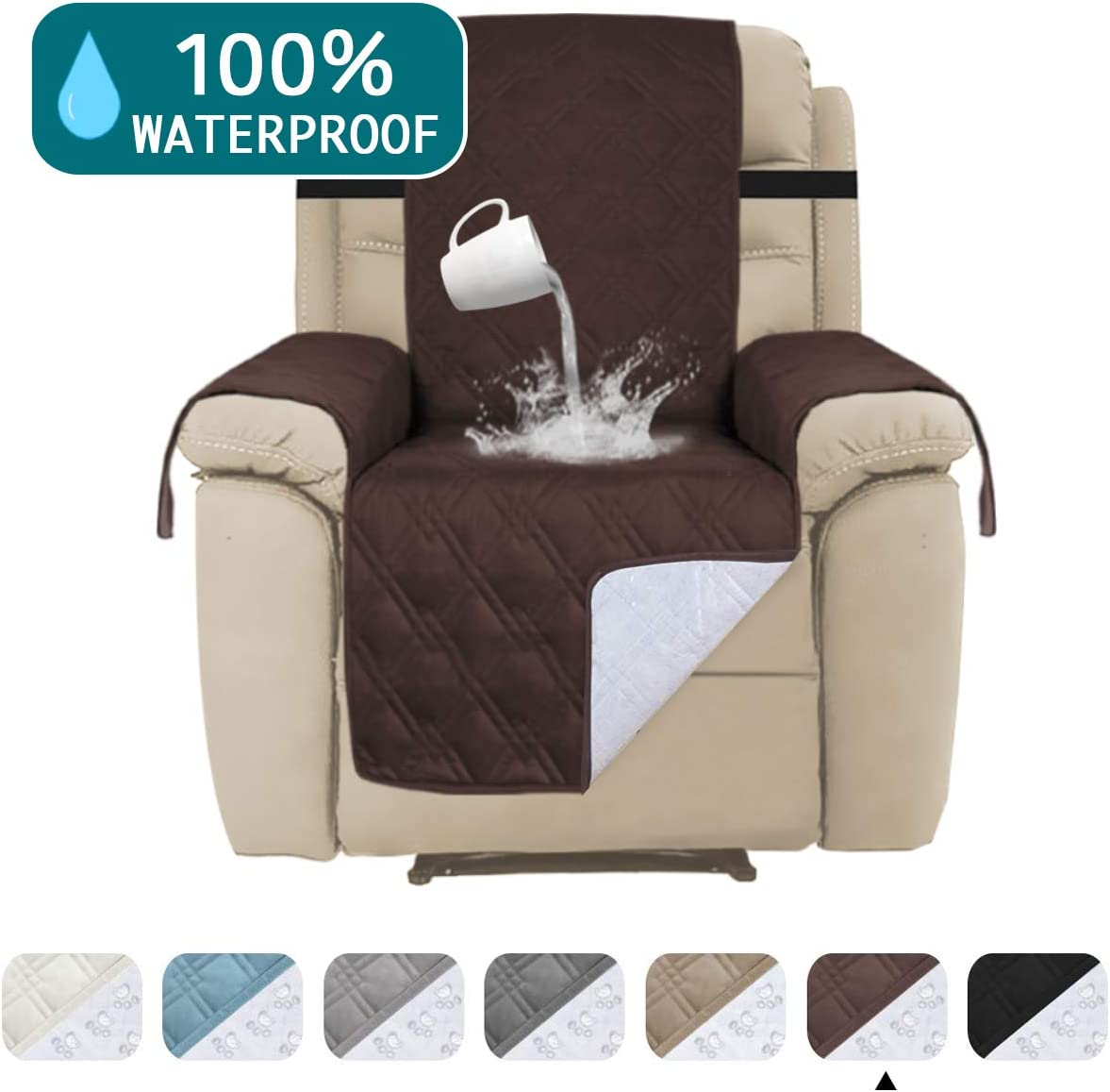 """100% Water Proof Recliner Chair Covers Pet Furniture Cover for Leather Recliner Protector Slip Covers for Pets Cats Sitting Area Up to 30"""" Couch Covers Non Slip (Oversized Recliner: Brown)"""