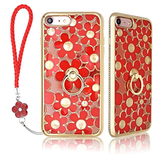 iPhone 7/iPhone 8 TPU Soft Case [Free Screen Protector] Stand 3D Flower Wristband Ring Relief Design Shiny Glitter Cute Rhinestone Trap Lanyard Holder Case Cover For iPhone7/iPhone8 (TPU Red) (Relief Flower)
