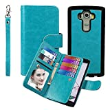 Case for G G4, xhorizon TM SR [Upgraded] 2 in 1 Premium Leather [Wallet Function][Magnetic Detachable][Magnetic Car Mount Phone Holder Compatible]Folio Cover Case For LG G4 - Blue