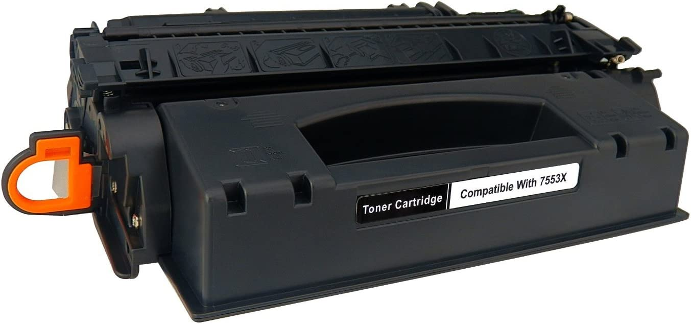 Black, 2-Pack Laser Tek Services Compatible High Yield Toner Cartridge Replacement for The HP 53X Q7553X